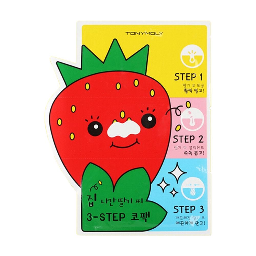 韩国tonymoly 魔法森林 草莓去黑头收缩毛孔三步骤鼻贴 草莓鼻膜图片