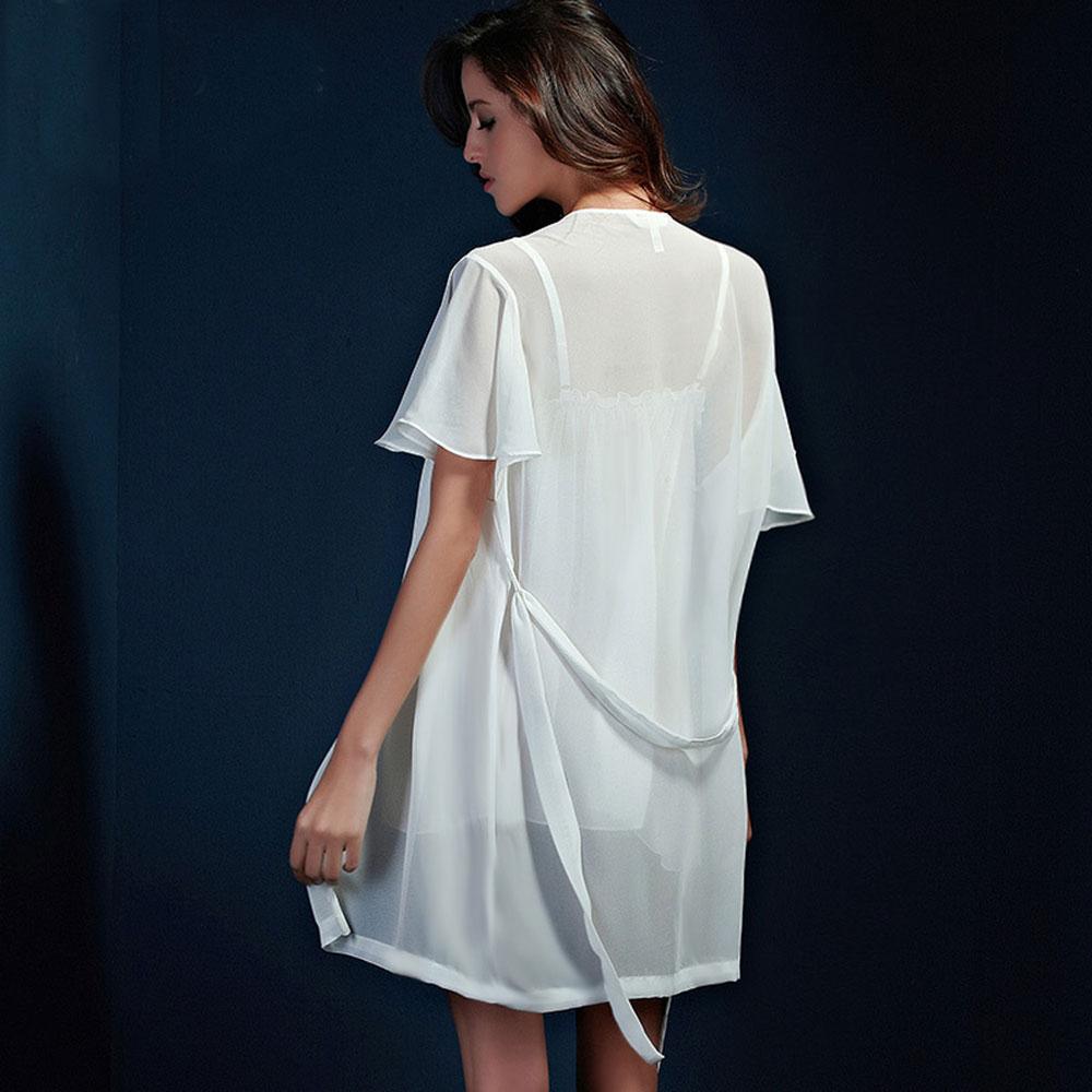 苏泽尔女士情趣内衣性感高贵吊带情趣内衣睡衣睡裙睡袍两件套(白色xl