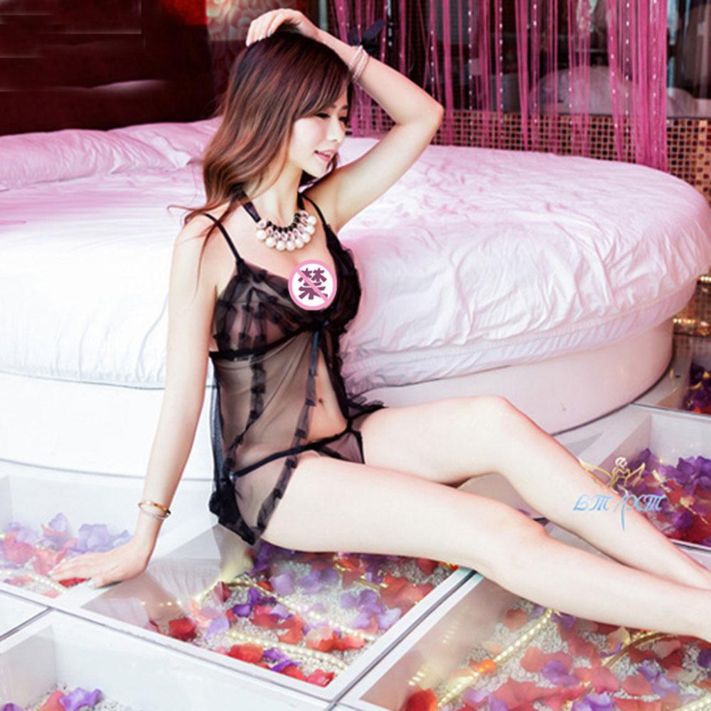 迪依乐园 性感诱惑小可爱公主透明睡裙(黑色)